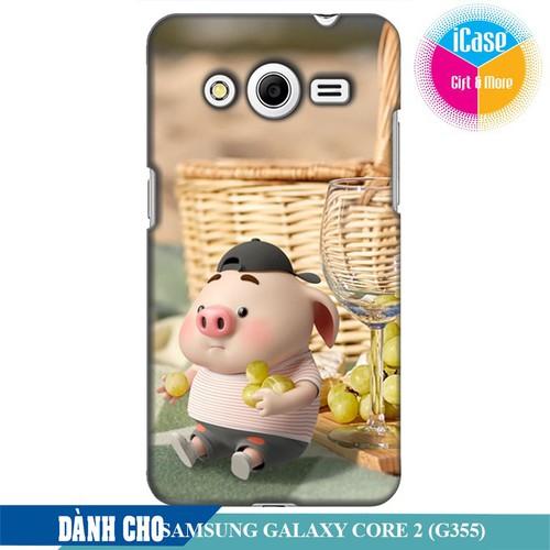 Ốp lưng nhựa dẻo dành cho Samsung Galaxy Core 2 in hình Heo Con Tham Ăn