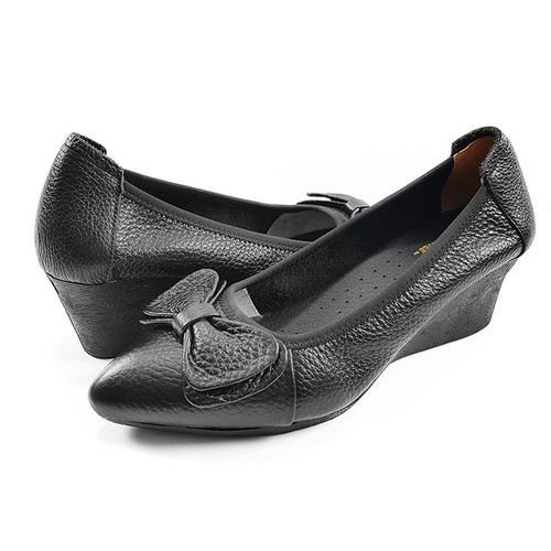 Giày Cao Gót Nữ Đẹp Giày Đế Xuồng Da Thật Cao 5cm 5P16SP - Đen