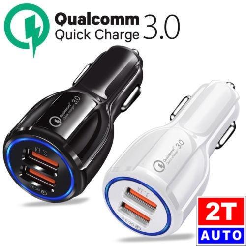 TẨU SẠC NHANH QUALCOMM HỖ TRỢ CHUẨN QUICK CHARGE 3.0, Gồm 2 Cổng USB QC 3.0&3.1A cao cấp cho ô tô xe hơi-12V-24V- MÀU TRẮNG
