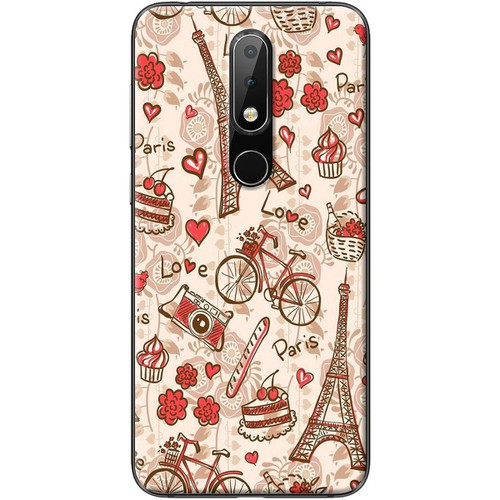 Ốp lưng nhựa dẻo Nokia 5.1 Plus Paris đỏ