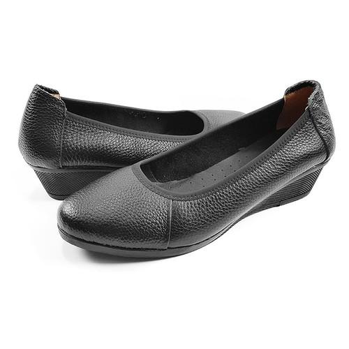 Giày Cao Gót Nữ Đẹp Giày Đế Xuồng Da Thật Cao 3cm 3P21SP - Đen