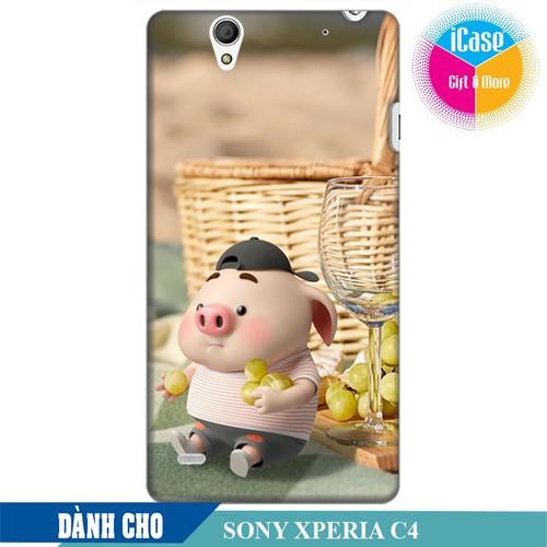 Ốp lưng nhựa dẻo dành cho Sony C4 in hình Heo Con Tham Ăn