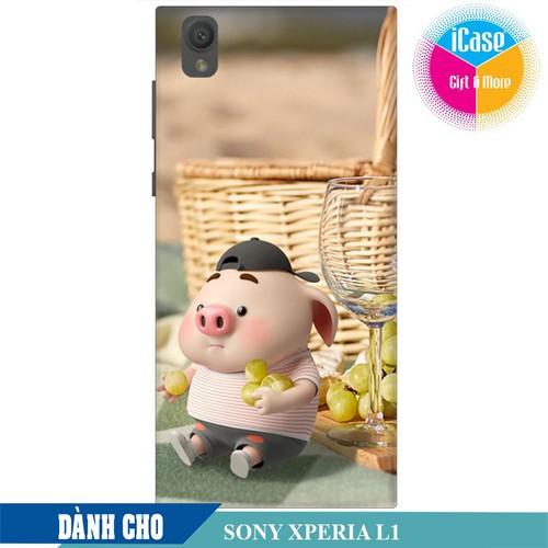 Ốp lưng nhựa dẻo dành cho Sony L1 in hình Heo Con Tham Ăn