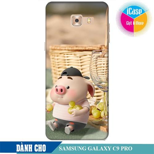 Ốp lưng nhựa dẻo dành cho Samsung Galaxy C9 Pro in hình Heo Con Tham Ăn