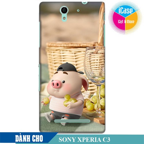 Ốp lưng nhựa dẻo dành cho Sony C3 in hình Heo Con Tham Ăn