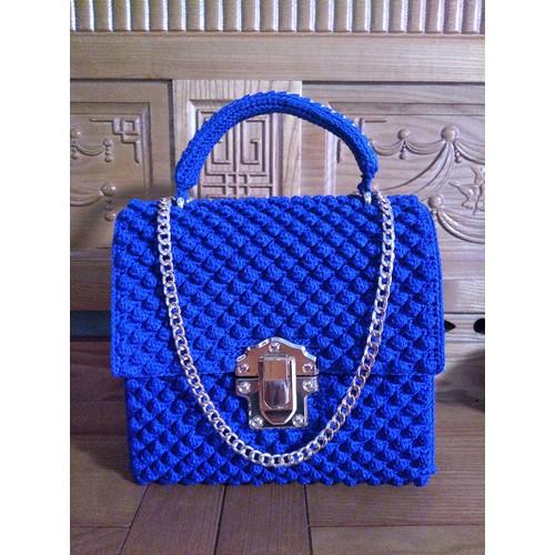 Túi xách handmade xanh coban