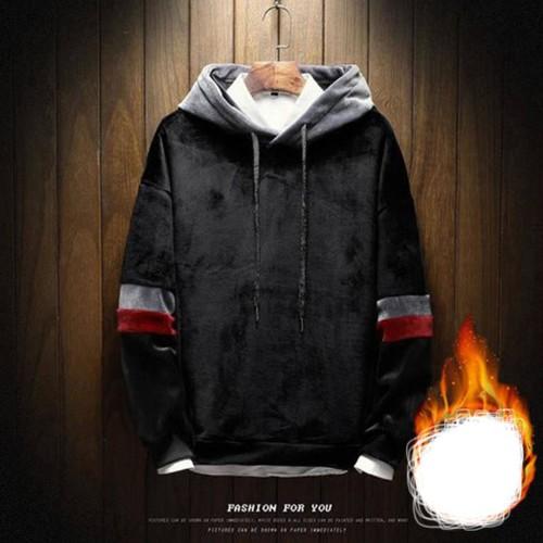 Áo hoodie tay phối nam tính Mã: NT2149 - ĐEN