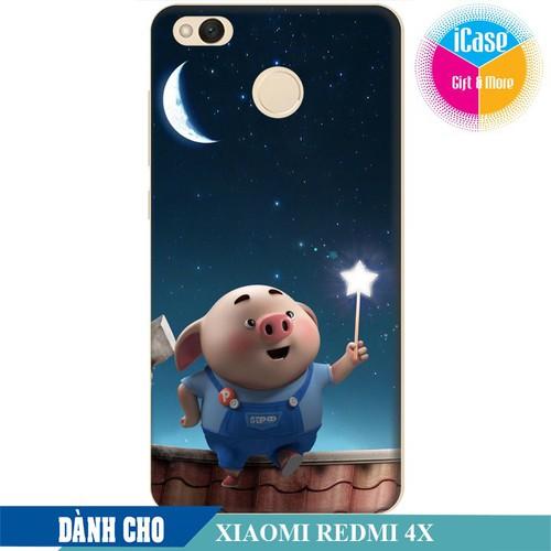 Ốp lưng nhựa dẻo dành cho Xiaomi Redmi 4X in hình Heo Con Ngắm Trăng