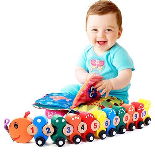 Đồ chơi gỗ an toàn cho bé - Bộ đồ chơi đoàn tàu sâu gỗ số học