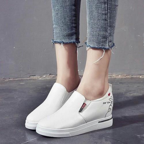 giầy độn đế nữ trắng 5 cm