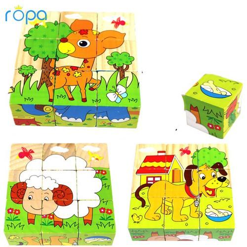 Đồ chơi trẻ em, Bộ đồ chơi ghép hình 3D với 9 mảnh ghép 6 mặt cho bé vui chơi