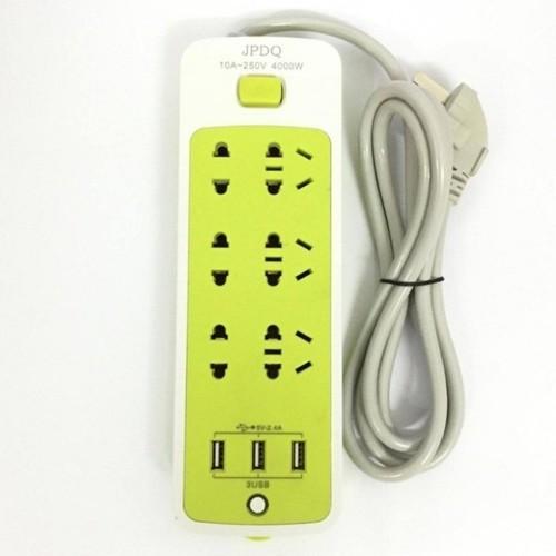 Ổ CẮM ĐIỆN 6 PHÍCH CẮM, 3 CỔNG USB