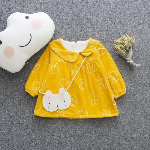 Áo váy bông nỉ dầy dặn kèm túi cho trẻ từ 1 đến 3 tuổi váy đầm kiểu babydoll dáng chữ A dài tay màu vàng in hình thỏ đáng yêu cho bé size 10 - 7477385 , 14075838 , 15_14075838 , 250000 , Ao-vay-bong-ni-day-dan-kem-tui-cho-tre-tu-1-den-3-tuoi-vay-dam-kieu-babydoll-dang-chu-A-dai-tay-mau-vang-in-hinh-tho-dang-yeu-cho-be-size-10-15_14075838 , sendo.vn , Áo váy bông nỉ dầy dặn kèm túi cho trẻ t