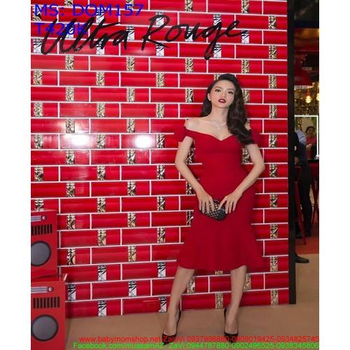 Đầm ôm dự tiệc bẹt vai màu đỏ sang trọng sexy DOM157