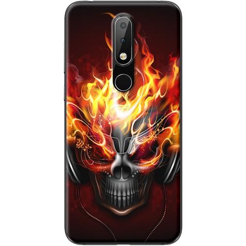 Ốp lưng nhựa dẻo Nokia 6.1 Plus Đầu lâu lửa