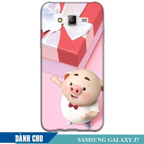 Ốp lưng nhựa dẻo dành cho Samsung Galaxy J7 in Heo Con Đòi Quà