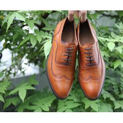 Giày tây nam da ý nhập cao cấp đánh patina siêu mềm siêu nhẹ màu bò đế da