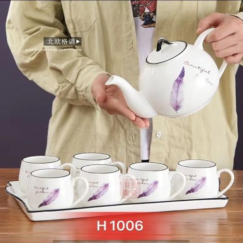 Bộ ấm chén pha trà Lông Vũ sứ Giang Tây