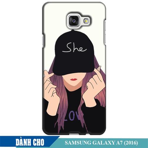Ốp lưng nhựa dẻo dành cho Samsung Galaxy A7 2016 in Cô Gái Thả Tim