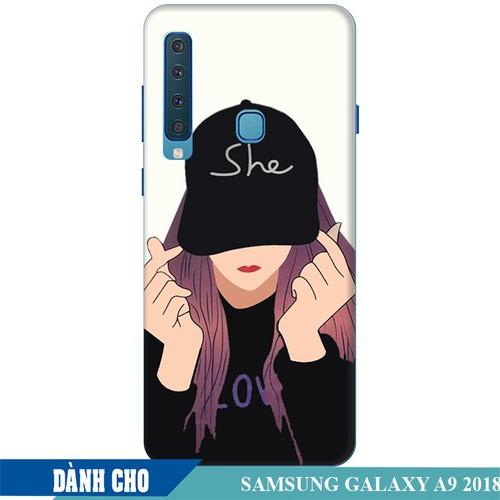 Ốp lưng nhựa dẻo dành cho Samsung GalaxyA9 2018 in Cô Gái Thả Tim