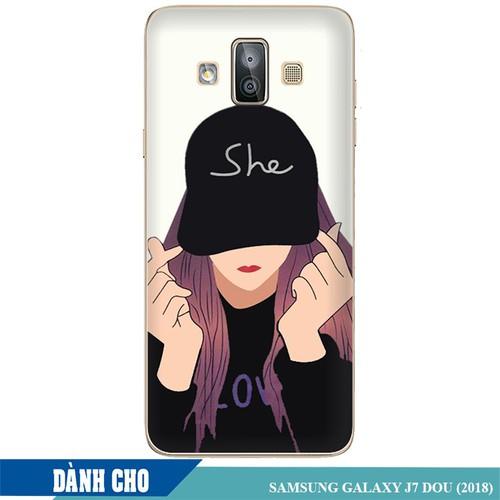 Ốp lưng nhựa dẻo dành cho Samsung Galaxy J7 Duo in Cô Gái Thả Tim