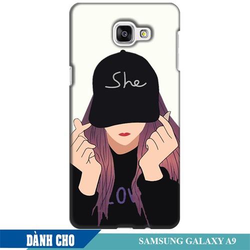Ốp lưng nhựa dẻo dành cho Samsung Galaxy A9 in Cô Gái Thả Tim