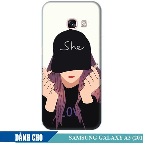 Ốp lưng nhựa dẻo dành cho Samsung Galaxy A3 2017 in Cô Gái Thả Tim