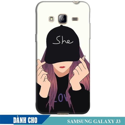 Ốp lưng nhựa dẻo dành cho Samsung Galaxy J3 in Cô Gái Thả Tim