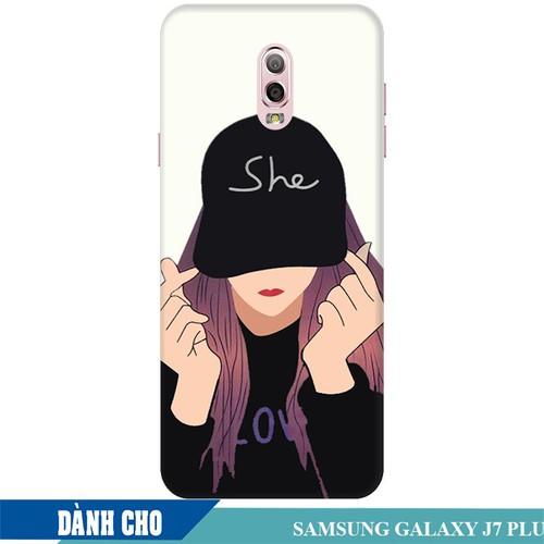 Ốp lưng nhựa dẻo dành cho Samsung Galaxy J7 Plus in Cô Gái Thả Tim