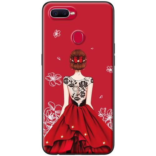 Ốp lưng nhựa dẻo Oppo F9 Váy đỏ ren lưng