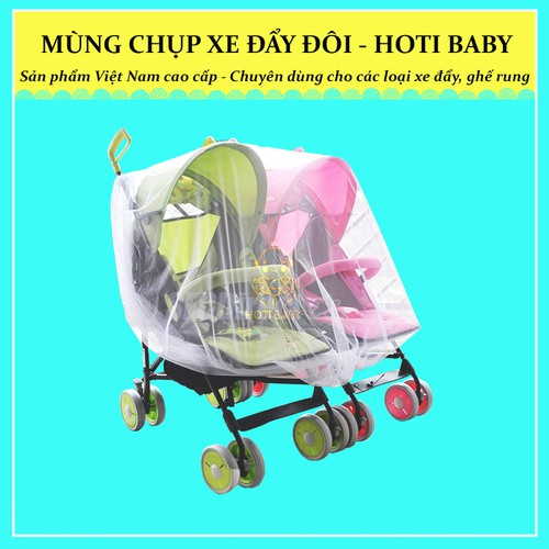 Màn chụp chống muỗi HOTI BABY dành cho xe đẩy đôi - full chun