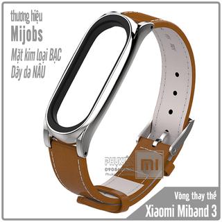 Vòng thay thế Miband 3 -4 Mijobs dây da mặt kim loại - nâu kim loạị - MB3-Da-NAU thumbnail