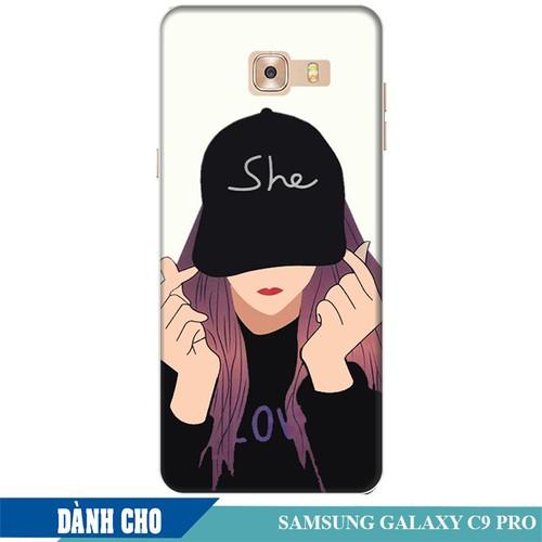 Ốp lưng nhựa dẻo dành cho Samsung Galaxy C9 Pro in Cô Gái Thả Tim