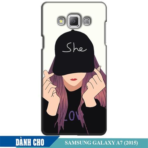 Ốp lưng nhựa dẻo dành cho Samsung Galaxy A7 in Cô Gái Thả Tim