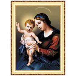 Tranh thêu chữ thập Đức mẹ và chúa Jesu