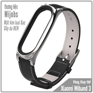 Vòng thay thế Miband 3 -4 Mijobs dây da mặt kim loại - đen kim loại bạc - MB3-Da-DENBAC thumbnail