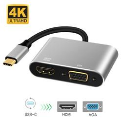 Cáp chuyển USB Type C to HDMI và VGA UtraHD 4K
