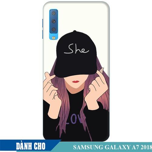 Ốp lưng nhựa dẻo dành cho Samsung GalaxyA7 2018 in Cô Gái Thả Tim