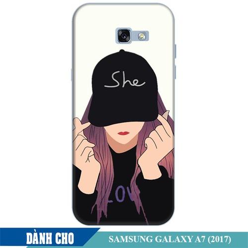 Ốp lưng nhựa dẻo dành cho Samsung Galaxy A7 2017 in Cô Gái Thả Tim