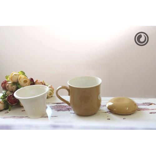 Bộ cốc chiết eo có nắp và lọc nâu sữa 0.25L SSC011A7