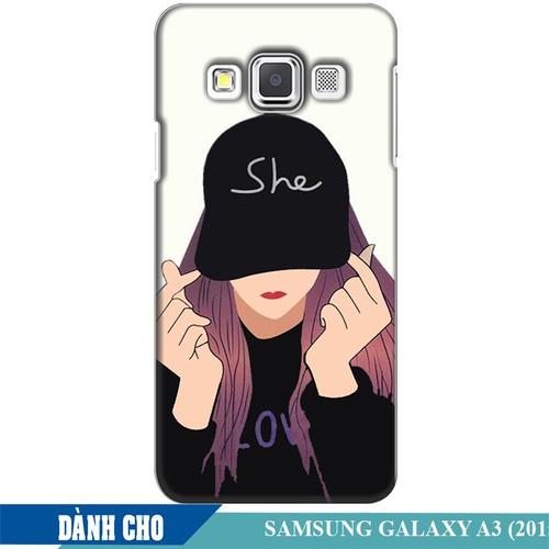 Ốp lưng nhựa dẻo dành cho Samsung Galaxy A3 in Cô Gái Thả Tim