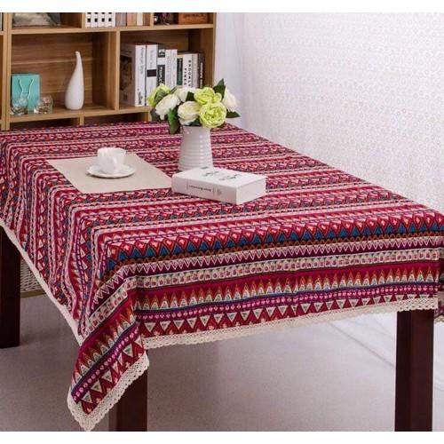 Khăn trải bàn khổ 130cm x 180cm họa tiết thổ cẩm đỏ