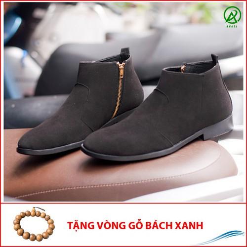 Giày chealsea boot nam kéo khóa đen buck CB521 -V