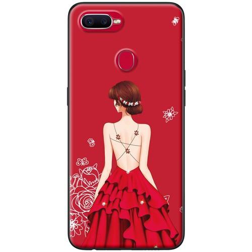 Ốp lưng nhựa dẻo Oppo F9 Váy đỏ nền đỏ