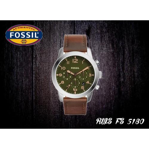 Đồng hồ nam Fossil FS5180 mặt tròn viền kim loại 44mm chữ số màu trắng trên nền xanh cốm hài hòa, hoài cổ