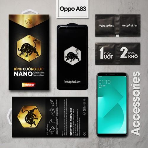 Kính cường lực Oppo A83 Full Webphukien đen