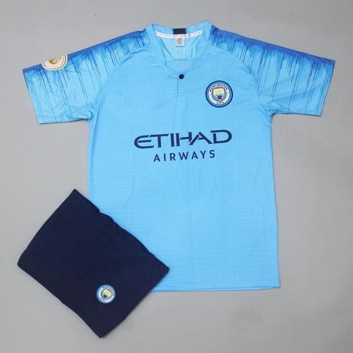 Quần áo bóng đá.Bộ mancity xanh ngọc 2018