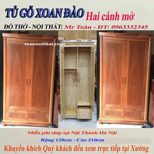 Tủ gỗ Xoan đào 2 cánh mở: R1.2m-C2.1m: Chỉ bán tại Hà Nội