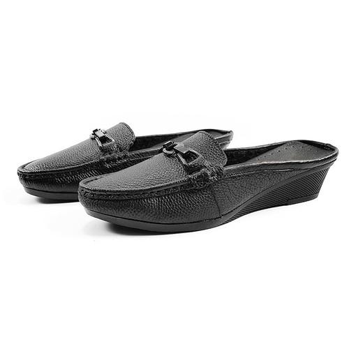 Giày Đế Xuồng Nữ 3cm Giày Sục Da Thật Siêu Mềm 3P1772 - Đen