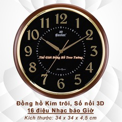 Đồng hồ Treo tường có Nhạc, 16 điệu Nhạc Gõ Báo giờ, Đồng hồ Kim trôi, Số nổi 3D